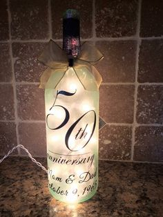 Anniversary wine bottle light by BERKSWINEDESIGN on Etsy