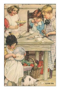 Douglas Crockwell Children Playing in the Kitchen.