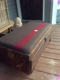 Swiss army blanket coffee table/ottoman