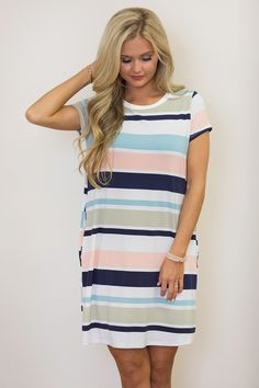 We've Come So Far Striped Dress - The Pink Lily