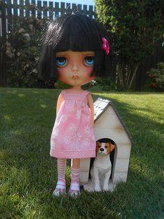 Custom Blythe and her dog!!!