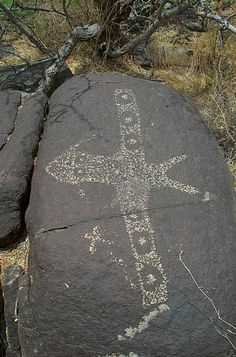 Petroglyph from New Mexico.  Upon my first observation, I immediately recognized an airplane, complete with lights on the wings.
