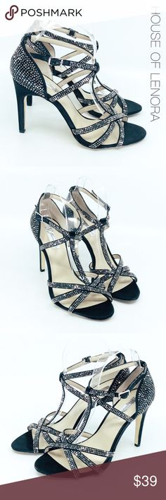 """INC Evening T Strap """"Reggie"""" Sparkle Heel Description Absolutely gorgeous t -strap evening sandal. The shoe is covered in studded sequins and closes at the ankle. DETAILS: HEEL: 4 Inches // MATERIAL: Satin Fabric // CONDITION: Very good preowned INC International Concepts Shoes Heels"""