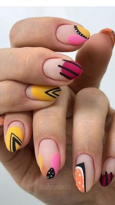70 Simple Nail Design Ideas That Are Actually Easy Nail Design Stiletto, Nail Design Glitter, Perfect Nails, Gorgeous Nails, Pretty Nails, Funky Nails, Love Nails, Nail Manicure, Gel Nails