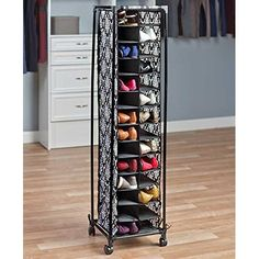 ʚ❤︎ɞ Rolling Shoe Storage Fashionable Organizer Pair Rack Cubbies Space Saving Tall Shoe Storage Unit, Shoe Cubby, Storage Hacks, Diy Storage, Shoe Storage With Wheels, Storage Area, Wall Storage, Small Closet Organization, Closet Storage