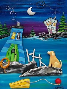 The Grumpy Goat Gallery: Sophia Found Her Thrills on Blueberry Hill. Flocked Christmas Trees, Christmas Crafts, Newfoundland And Labrador, Paint Party, Whimsical Art, Beach Art, Rock Art, Acrylics, Painted Rocks