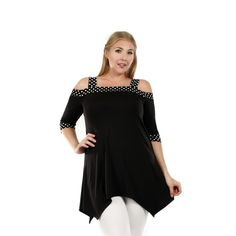 ~~pinned from site directly~~ . . . Firmiana Women's Plus Size 3/4 Sleeve Polka Dot Black Top