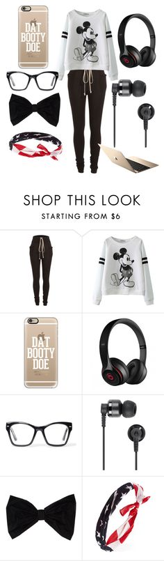 """Lazy day😴"" by anyarae ❤ liked on Polyvore featuring Rick Owens, Casetify, Beats by Dr. Dre, Spitfire, Nixon, PINK BOW and Forever 21"