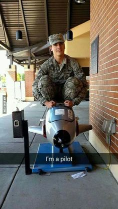 Here we see a young airman trying to fly for the first time.