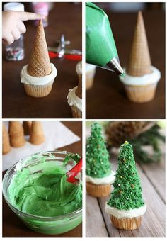 O Tannenbaum Cupcakes How festive! This Christmas cupcake recipe is adorned with a frosted ice cream cone that looks just like an evergreen. Kids and adults alike will enjoy these single-serving Christmas desserts. Christmas Tree Cupcakes, Christmas Snacks, Christmas Cooking, Noel Christmas, Christmas Goodies, Holiday Treats, Holiday Recipes, Christmas Decorations, Christmas Recipes