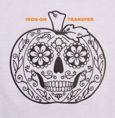 Pumpkin Sugar Skull TRANSFER Iron On Heat Press DIY for T shirts Totes Adult Coloring Page Zendoodle Color w Markers Halloween Party Favor Hey! Do you like adult coloring pages? Sugar Skull Pumpkin Stencil, Sugar Skull Painting, Pumpkin Art, Pumpkin Carving, Body Painting, Scary Pumpkin, Pumpkin Ideas, Halloween Party Favors, Halloween Crafts