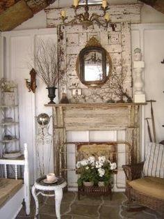 Decor, decoration chic, farmhouse decor, faux mantle, shabby chic f Shabby Chic Homes, Shabby Chic Decor, Vintage Decor, Shabby Chic Mantle, Rustic Mantel, Faux Fireplace, Fireplaces, Faux Mantle, Fireplace Ideas