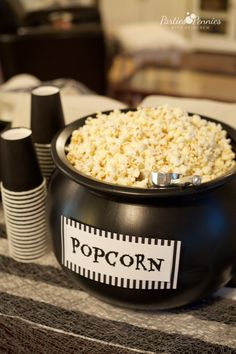 Beetlejuice Halloween Party | PartiesforPennies.com | Popcorn Cauldron