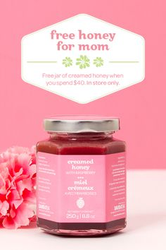 MOTHER'S DAY 2014 - This is no ordinary honey. We took all natural, unpasteurized, raw honey and slowly spun it until it was delectably smooth and creamy. Then we added natural fruits and spices to make some seriously irresistible flavours. Why creamed? So it's easier than ever to scoop a little extra richness into your favourite tea. No fuss, no muss – just sweet, creamy perfection. Plus, when you spend 40 dollars in store, you'll get a jar for free!