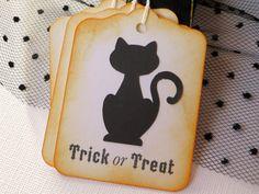 Cat Halloween hang tags  Black Cat Halloween by WildSugarberries
