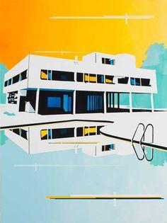 © Paul Davies ~ Displaced villa II ~ 2013 acrylic on linen at Tim Olsen Gallery Sydney Australia