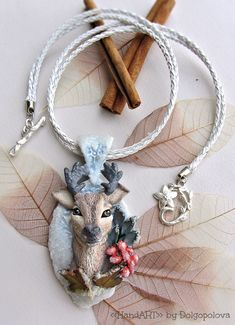 Polymer clay winter necklace with the deer by Polyclaydesign