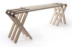 63 Degrees is a minimalist folding bench that speaks to German Design philosophies: form follows function & less is more.