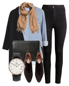 """Untitled #4957"" by laurenmboot ❤ liked on Polyvore featuring H&M, Topshop, Gérard Darel, MANGO and Daniel Wellington"