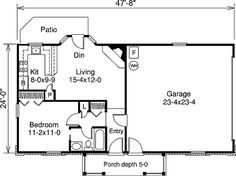 Many people consider a garage to be an essential part of their home, but it can be a bit of a challenge to find a tiny floor plan that includes one. Luckily, the following one-bedroom floor plans have you covered!