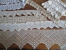 7 pieces  vintage hand crocheted lace trim yards lot