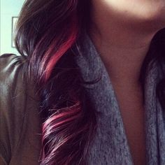pink or bright red streaks...such a great contrast with the dark brown.
