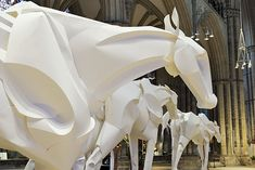 Richard Sweeney, Artist, Olympic Horses (detail), commissioned for display in the nave of Lincoln Cathedral during the 2012 Lincoln flower festival: Dreams of Gold. Created using scored and folded paper over a wooden armature