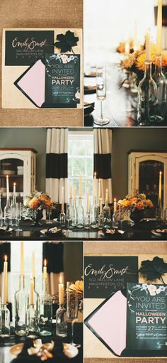 Struggling with throwing a grown-up Halloween party? Style Me Pretty proves that sophisticated decor and Halloween spirit can come together to make a Classy Halloween, Halloween Dinner, Halloween Table, Holidays Halloween, Halloween Crafts, Halloween Decorations, Spooky Halloween, Halloween Centerpieces, Halloween Candles