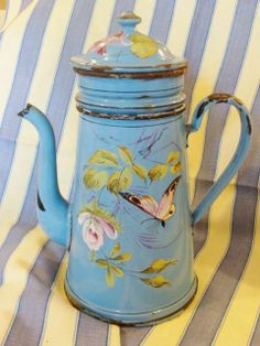 French Antique Enamelware Coffee Pot with filter, Hand-painted