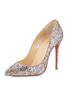 CHRISTIAN LOUBOUTIN Pigalle Follies Glitter Red Sole Pump, Rosette/Gold. #christianlouboutin #shoes #pumps
