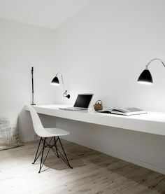 Super minimal space - no distractions. Home office inspiration from Norm Architects. Home Office