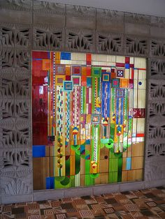 Stained Glass  What you see when you first walk in, designed by Frank Lloyd Wright.