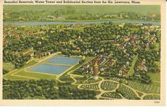 Postcard Lawrence MA Beautiful Reservoir Water Tower Residential Area 942 | eBay