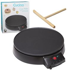 """Crepe Maker and Non-Stick 12"""" Griddle- Electric Crepe Pan with Spreader and Recipe Guide"""