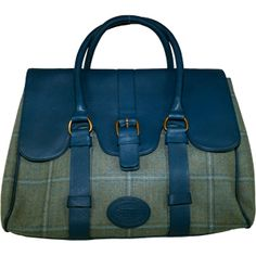 Dee Two Sage Tweed Weekender Bag Country Cognac The Country Cognac range of handbags and accessories combines the luxury of leather with the quality