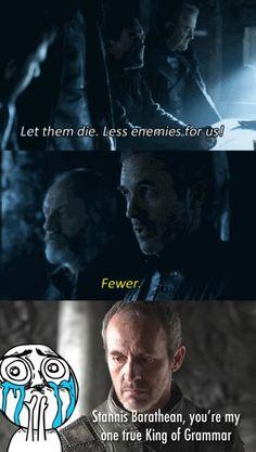 Stannis Baratheon: King of Westeros, lord of grammar
