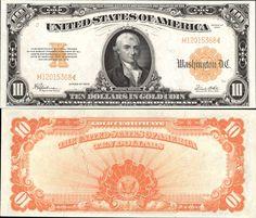 US 10 Dollar Gold Certificate     Series of 1922     Serial# H12015368     Signatures: Speelman / White  Portrait: Michael Hillegas      Eagle Seal