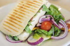 Photo about Panini with Salad ready to eat. Image of onion, food, focaccia - 14020451 Panini Grill, Vegetarian Recipes, Healthy Recipes, Good Food, Yummy Food, Food Crush, Piece Of Bread, Healthy Food Choices, Roasted Red Peppers