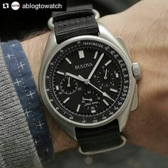 #Repost @ablogtowatch with @repostapp The new Bulova Moon Watch is a remarkable value - 44.5 mm steel case high performance quartz sapphire crystal hook and loop nylon leather or bracelet - priced from $550 USD. #bulova #moonwatch #chronograph #watches #womw #baselworldabtw by abtw_patrick