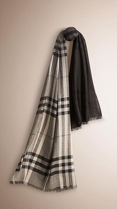 Burberry Charcoal Check Ombre Wool Silk Scarf - Directional check ombre scarf in lightweight wool silk gauze. Fringing at both ends. Discover the scarves collection at Burberry.com