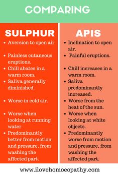 Comparing two Homeopathic remedies Sulphur and Apis.