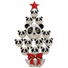 Crystal Multi Panda Christmas Tree Brooch