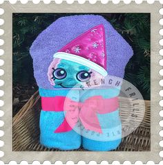 Snowcone hooded towel embroidery design.  Applique sewing project idea.