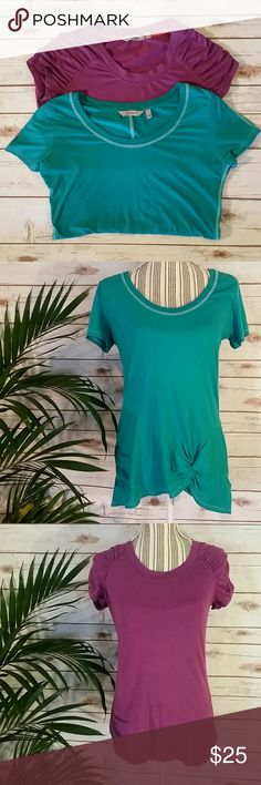 Athleta T Shirts Teal & Magenta Yoga Top Both lightly used, but in overall great condition! Athleta Tops Tees - Short Sleeve