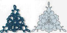 Il blog di Vera Maglia: 3)MOTIVI TRIANGOLARI UNCINETTO Crochet Triangle, Crochet Motifs, Crochet Diagram, Crochet Chart, Crochet Squares, Diy Crochet, Japanese Crochet Patterns, Crochet Barefoot Sandals, Crochet Accessories