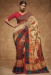 Attractive Red and Cream Tussar Silk Saree  https://www.ethanica.com/products/attractive-red-and-cream-tussar-silk-saree
