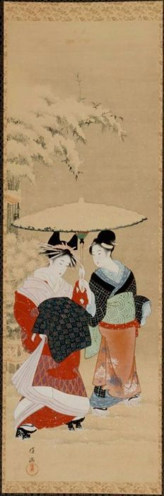Courtesan in the Snow at the New Year  Japanese, Bunka era (1804–18)