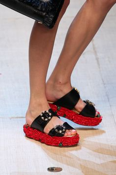 Dolce & Gabbana flatform sandals for spring/summer 2017 via Elle.com