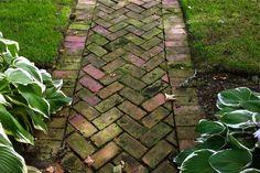 Herringbone patterned brick walkway
