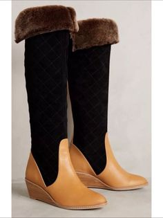 aeafe68c3c2f NEW  398 ANTHROPOLOGIE by SCHULER  amp  SONS PENNY QUILTED Shearling Wedge  BOOTS 9 in Clothing